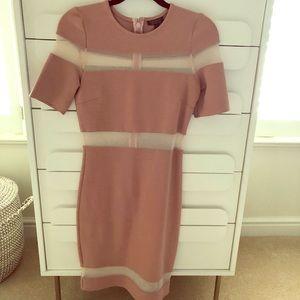 Topshop blush dress with sheer